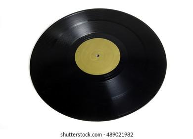 Black vinyl disc record isolated on white background
