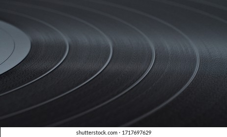 Black Vinyl Disc Record  with recorded music, close-up.