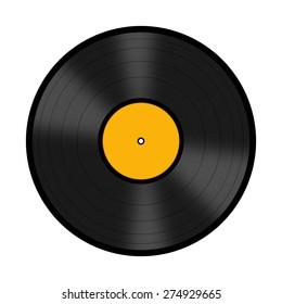 Black vinyl record disc isolated on white background