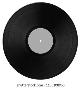 Black vinyl record with gray label isolated on white background. Top view.