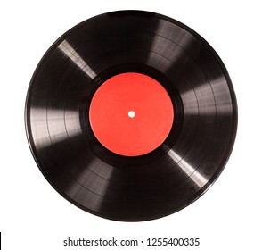 Black vinyl record isolated on white background