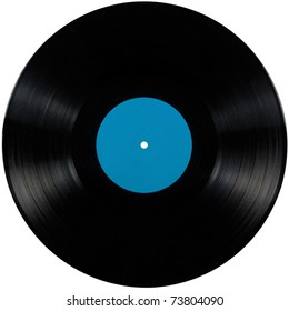Black vinyl record lp album, vintage disc; isolated long play disk with blank label in cyan blue