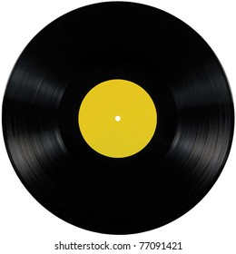 Black vinyl record lp album disc; isolated long play record disk with blank label in yellow