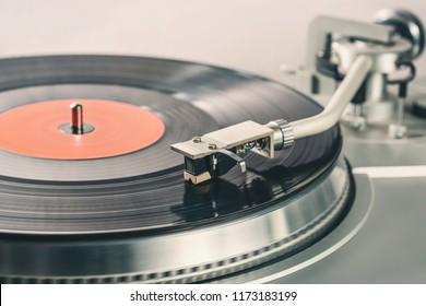 Black vinyl record. Vinyl player for vinyl discs. Needle on vinyl record