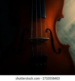 Black violin wood background orchestra