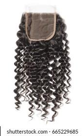 Black virgin curly human hair extension lace closure