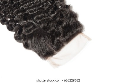 Black virgin remy curly human hair extensions lace closure