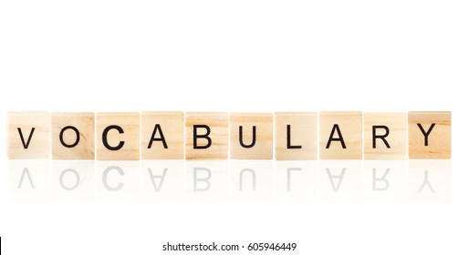 Black vocabulary word  with reflection, on wooden blocks on white background, Isolated.