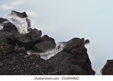 Black, volcanic rock at the blue lagoon