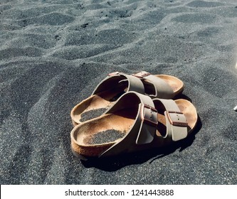 Black volcanic sand was hot hot hot - Birkenstock's required