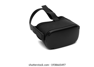 Black VR mask on white background.  Virtual reality wireless headset and system