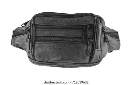black waist bag isolated on white background close-up