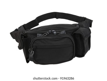 black waist pouch isolated on white background.