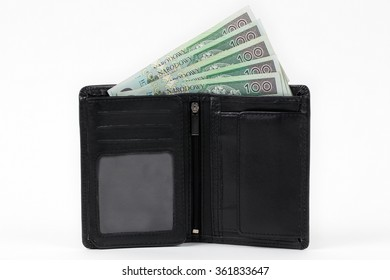 Black walet with polish money