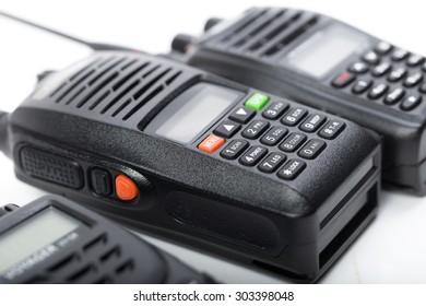Black walkie-talkie isolated