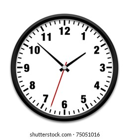 Black wall clock isolated on white