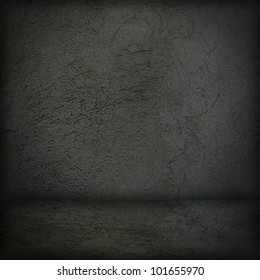 Black wall and black floor interior background illustration