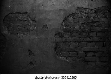 Black wall. Grunge texture.