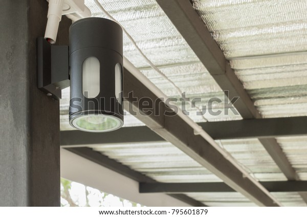 Black Wall Lamp Under Roof Interior Stock Photo Edit Now 795601879