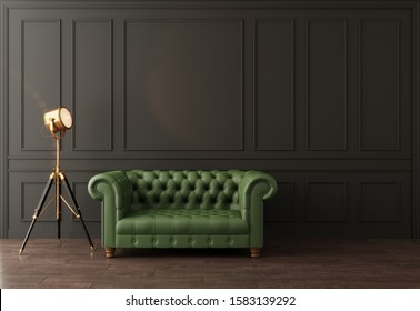 black wall with moldings green sofa Chester spotlight, 3D visualization, rendering