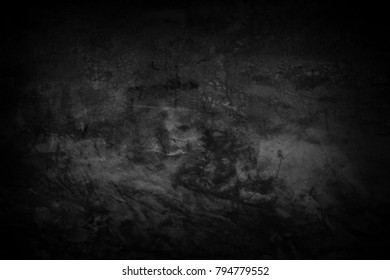 Black wall surface smooth surface or old black background of Grunge dark black wallpapers.