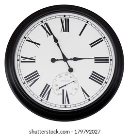 black wall vintage clock isolated on white