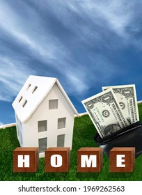 black wallet with banknote and houses model on green lawn with text home on wooden cube blocks ,   Living cost concept.  housing loan concept,