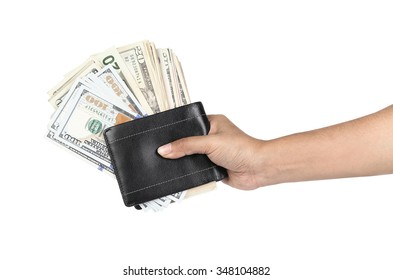 black wallet with dollars in the hands