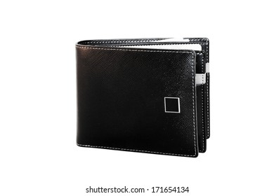 black wallet isolate on white background