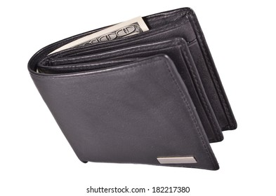 black wallet with money on a white background