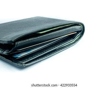 black wallet on white background isolate