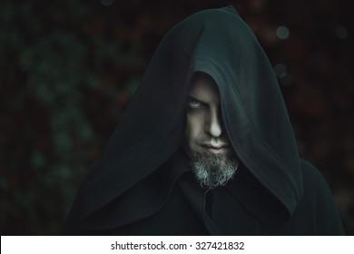 Black warlock portrait . Halloween concept