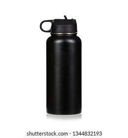 black water bottle isolated on white background