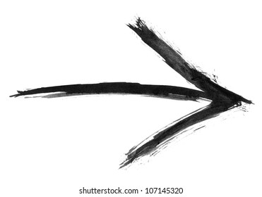 Black watercolor arrow isolated on white background created paint brush stroke in handmade technique.