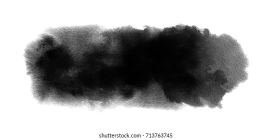 Black watercolor background with watercolour paint blot and brush stroke