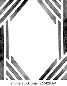 Black Watercolor Border Abstract Geometric Border