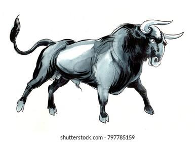 Black watercolor bull