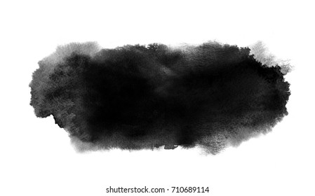 Black watercolor long stain with paint blotch and brush stroke