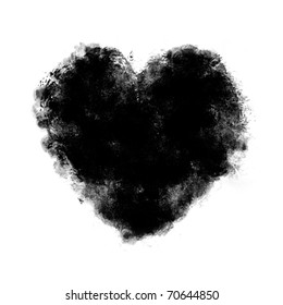 black watercolor Painted Heart  on white background
