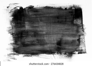 black watercolor painting texture on white background