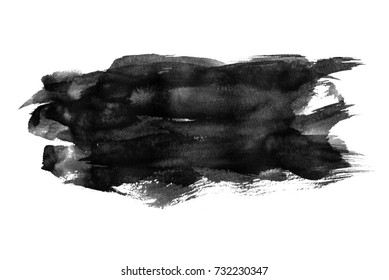 Black watercolor splashing on white background, hand paint on paper.