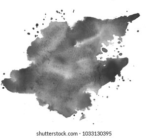 Black watercolor stain. Watercolor texture background