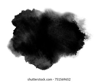 Black watercolor stain with wash and splashes. Watercolor