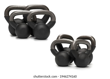 Black weight isolated on white. 4 kg weight. Fitness for women.