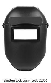 black welding mask isolated on pure white background