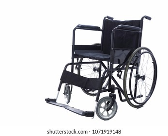 Black wheelchair, Medical equipment for use as a means of transport by a person who is unable to walk as a result of illness, injury, or disability, Isolated white background