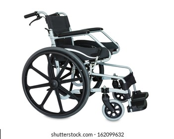 Black wheelchair on white background with clipping path
