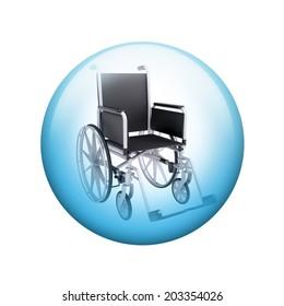 Black wheelchair. Spherical glossy button. Web element