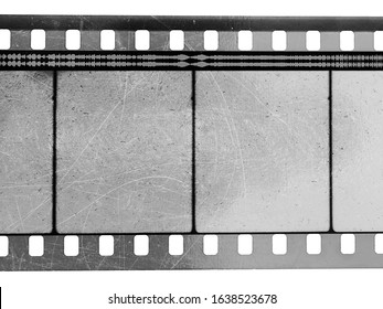 black and white 35mm cinefilm stripe with empty cells isolated on white backgroud with cool texture and optical stereo sound showing the amplitude of the audio signal, analog soundfilm or movietone.