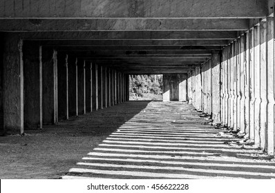 Black and white abandoned building